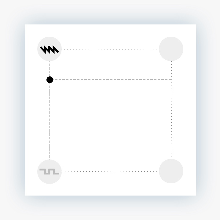 Vector Synth. On the left axis, the right-hand sounds are completely silent as we blend between the top-left and bottom-left.